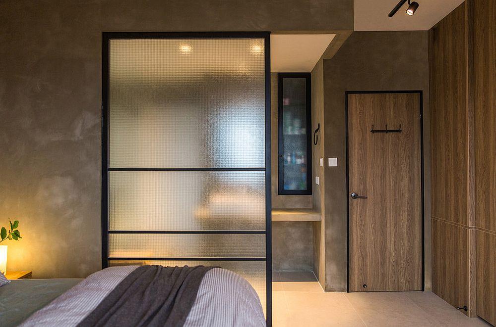 Hiasan bilik berkonsepkan kayu menggunakan tirai kaca dan element natural