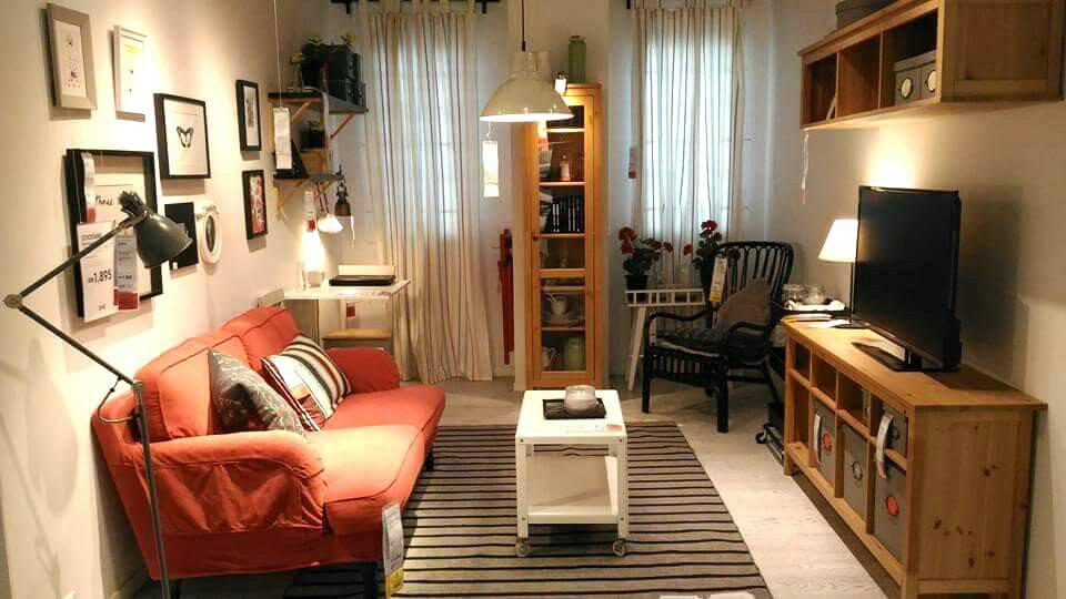 Hiasan dalaman ruang tamu apartment menggunakan barang ika