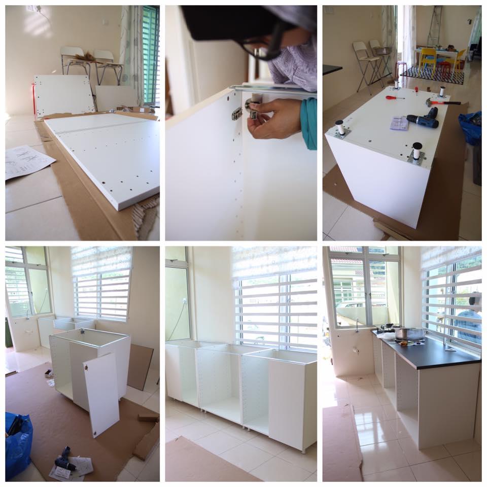 Lelaki ini share cara buat kabinet dapur sendiri dengan for Buat kitchen set sendiri