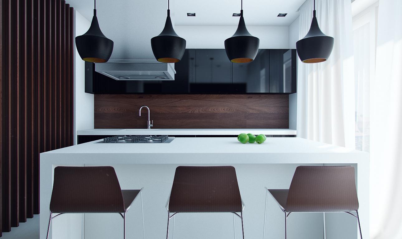 design kabinet dapur dengan konsep moden kontemporari tema putih hitam