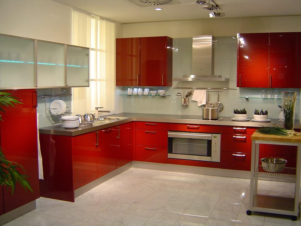 View In Gallery Gambar Kabinet Dapur Moden Dengan Pintu Warna Merah
