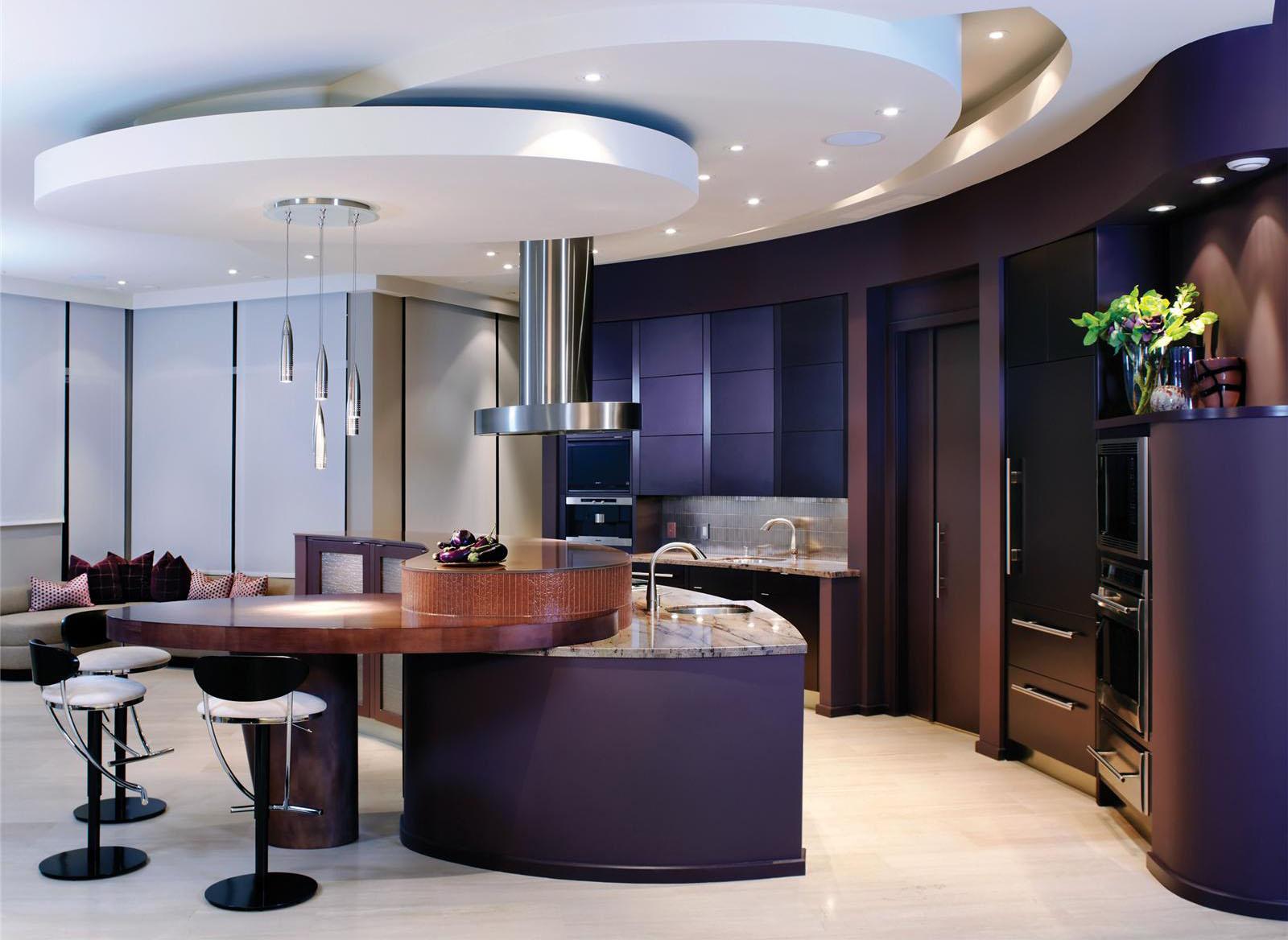 ruang dapur moden mewah dengan siling yang cool