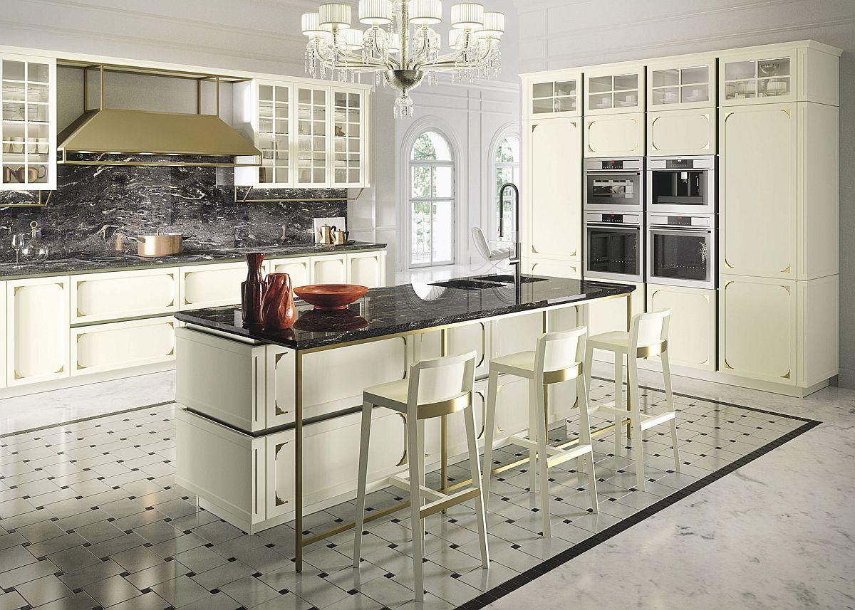 Countertop dan backsplash batu berkilat buat dapur nampak lebih bergaya