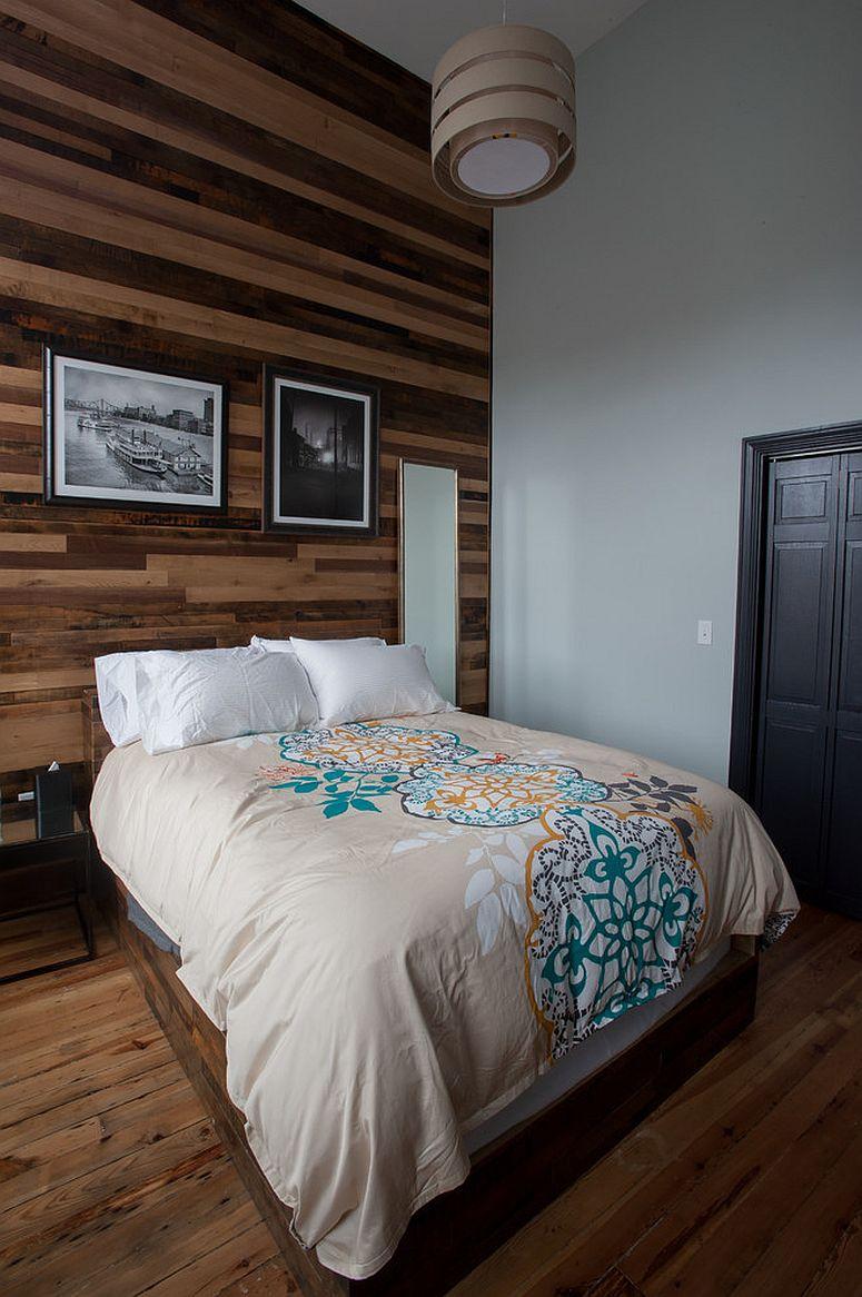 Dekorasi bilik tidur kontemporari menggunakan kayu terpakai menjadikan bilik lebih gah