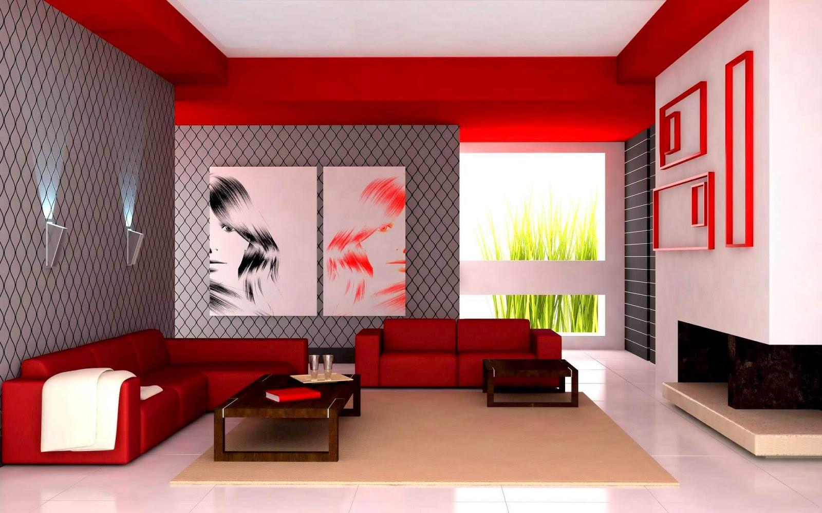 Rumah Teres Setingkat Dekorasi Ruang Tamu A Moden Dengan Warna Merah Terang
