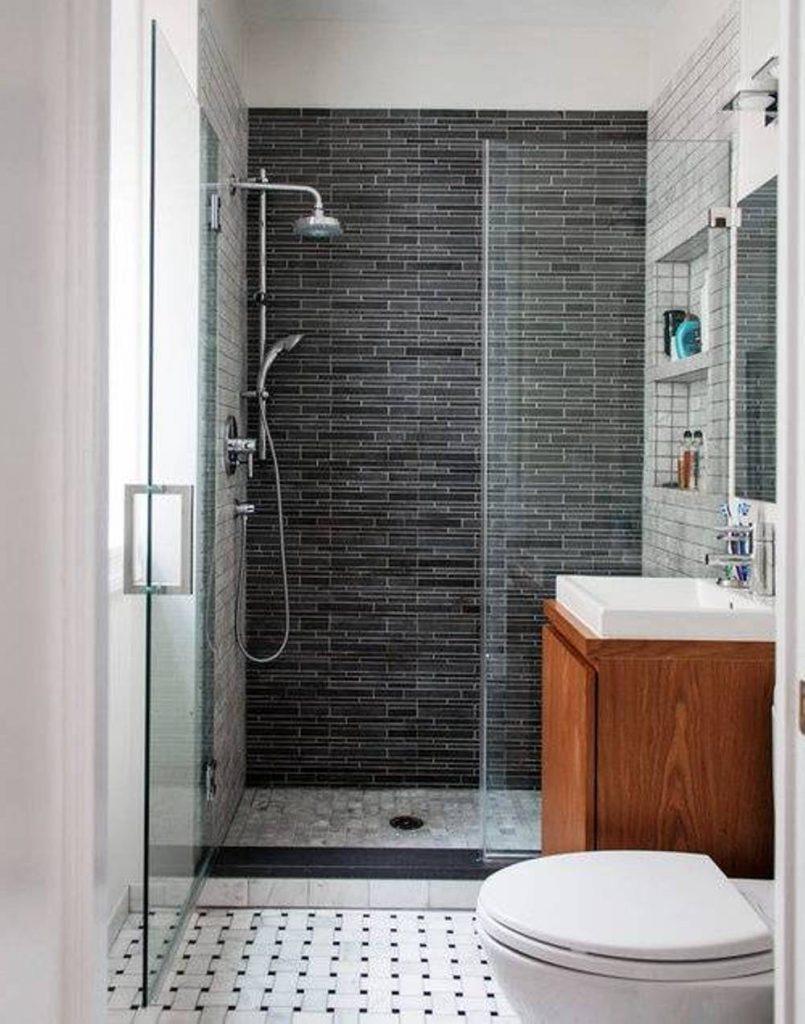 Design bilik air kecil moden dengan tema putih menenangkan