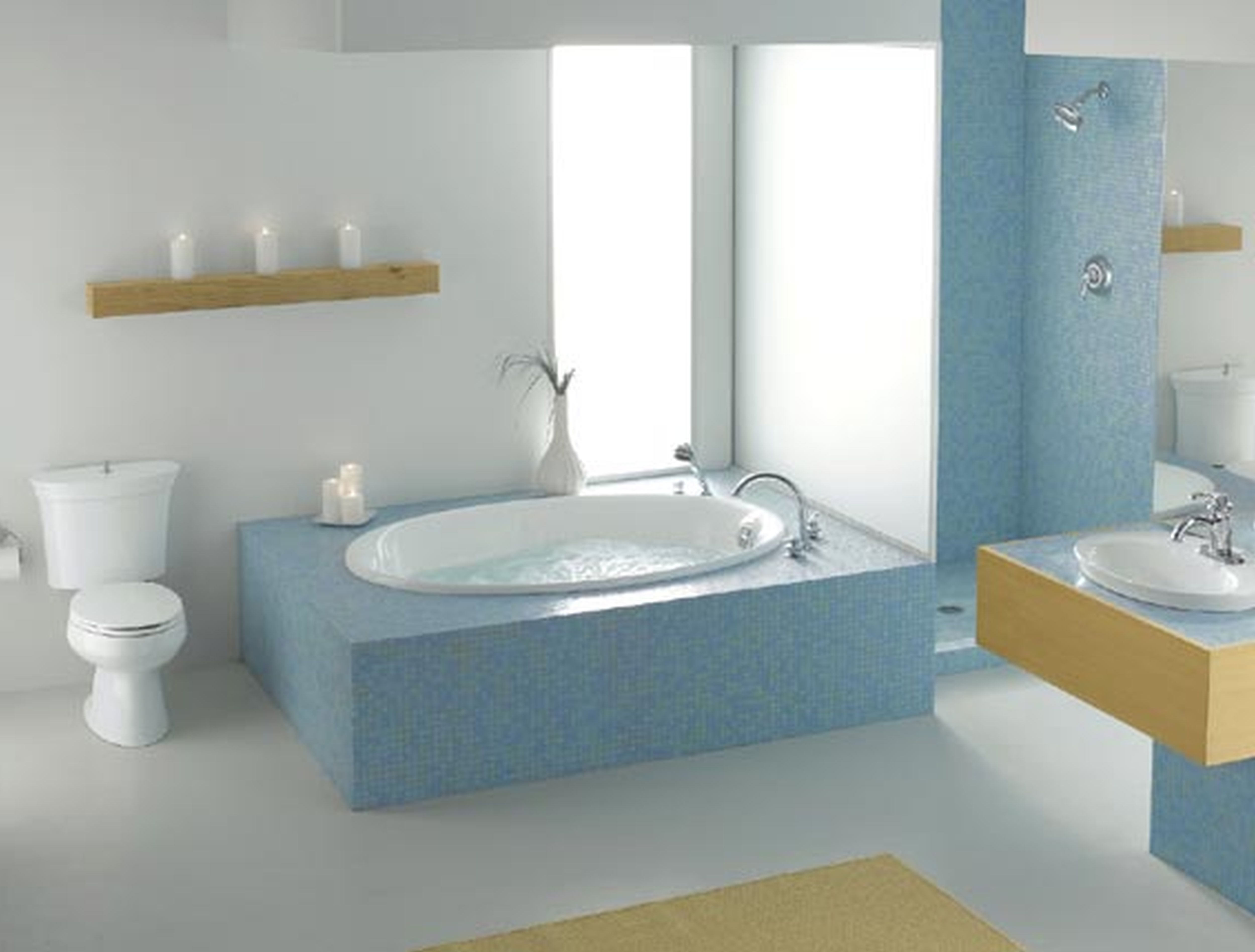 Design bilik air kecil terbaik dengan tema putih moden kontemporari dengan tub mandi
