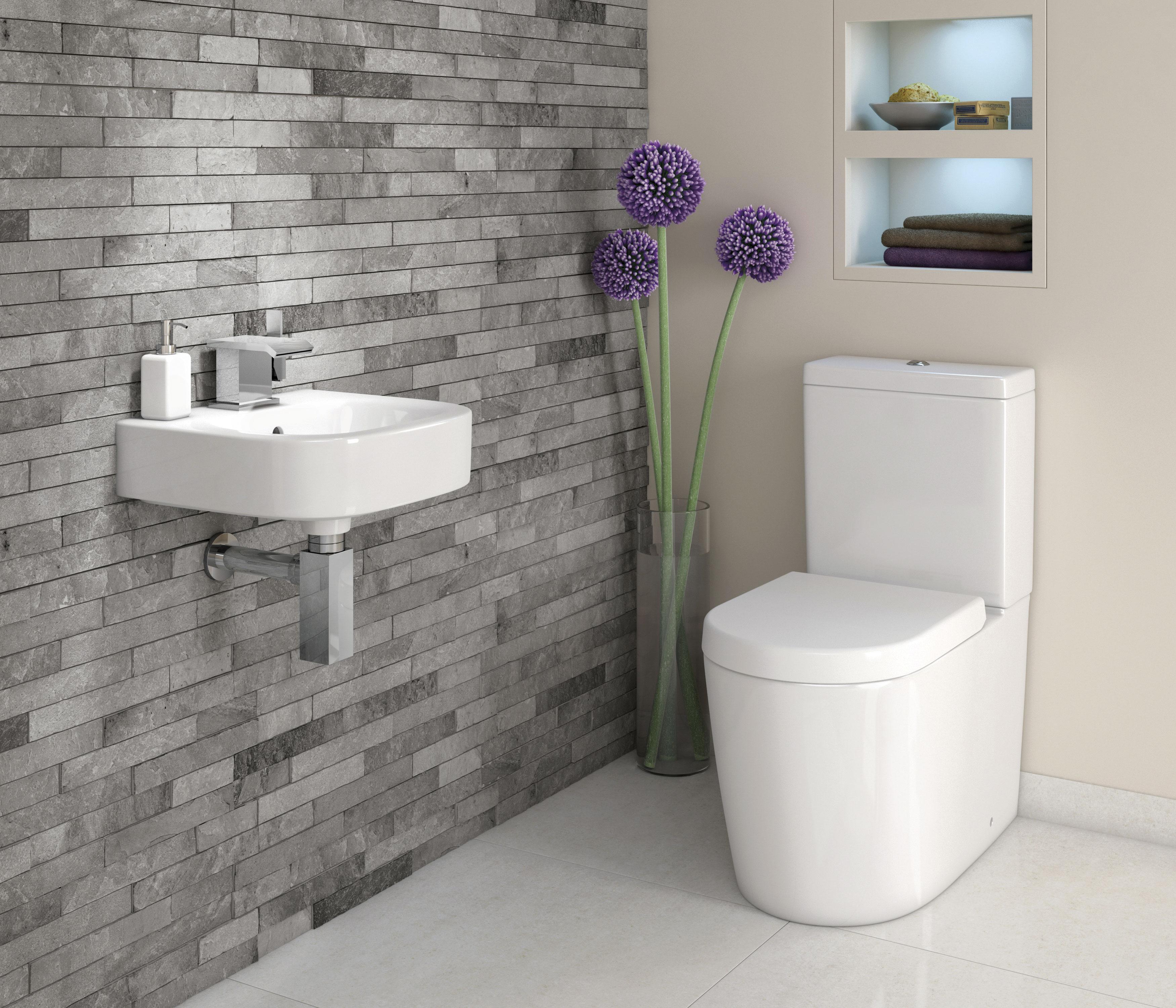 Design bilik air kecil terbaik dengan tema putih moden kontemporari