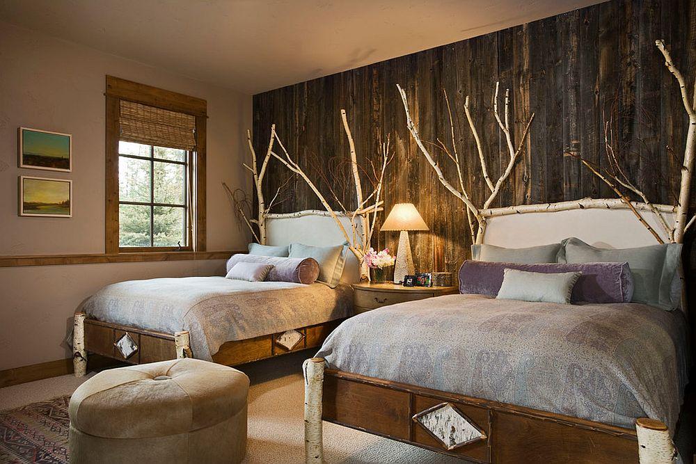 Hiasan dalaman bilik tidur gaya kampung menjadikan bilik moden ini lebih menarik