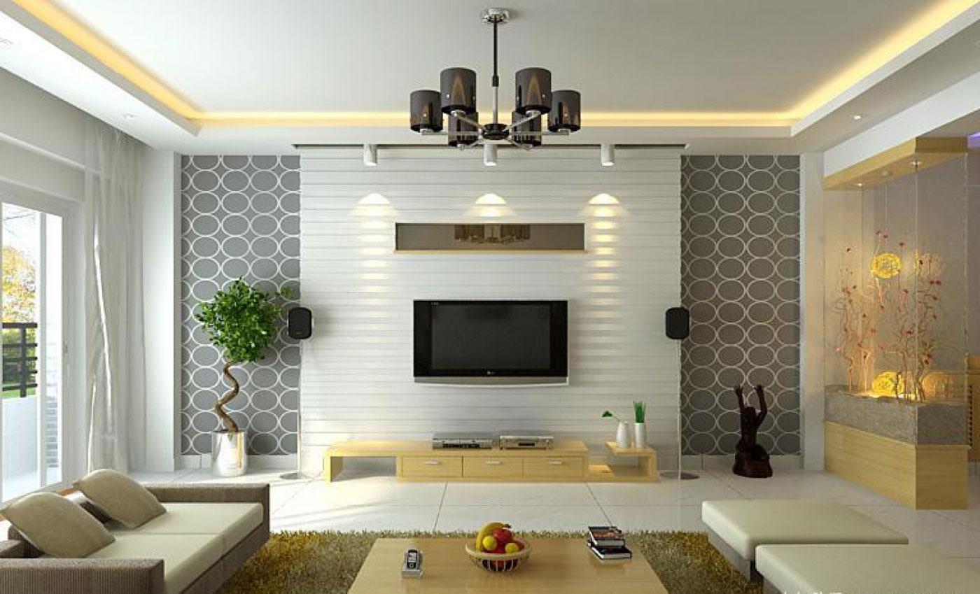 View In Gallery Idea Dekorasi Ruang Tamu Minimalis Dengan A Wallpaper Menarik