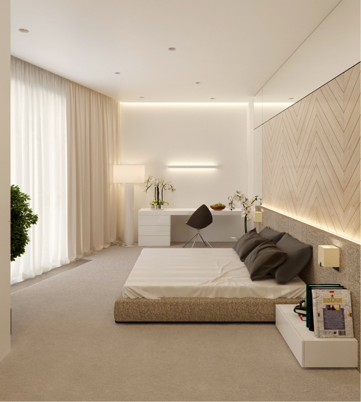 View In Gallery Bilik Tidur Moden Dengan Dinding Kayu