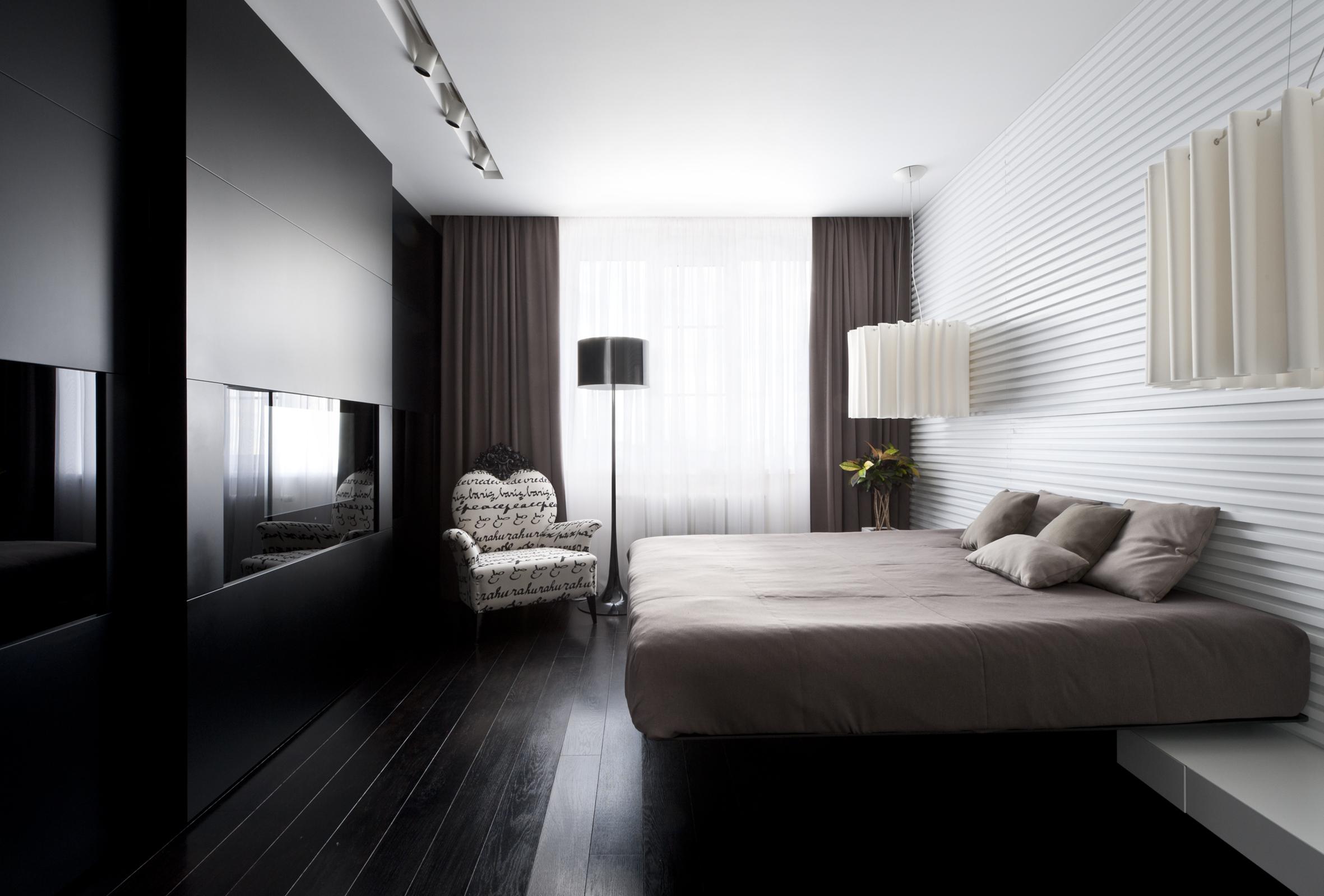 View In Gallery Bilik Tidur Moden Gelap Dan Terang Dengan Satu Dinding Dipasang Rak Tv