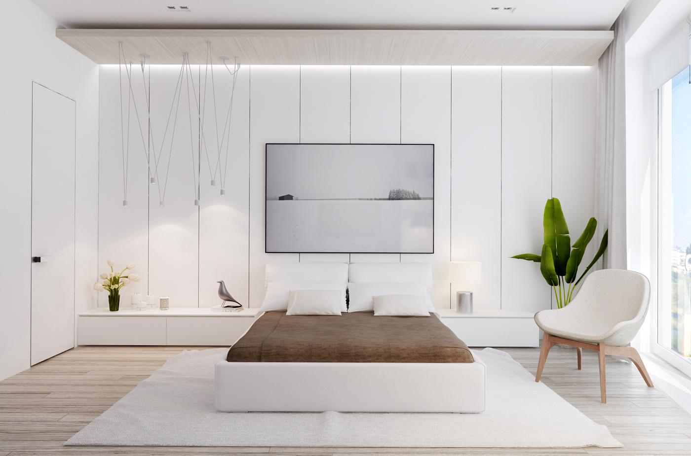 View In Gallery Dekorasi Dan Reka Bentuk Bilik Tidur Moden Dengan Tema Putih