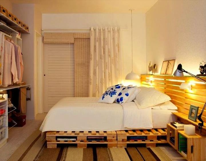 View In Gallery Diy Perabot Bilik Tidur Katil Dari Pallet Dengan Hiasan Lampu