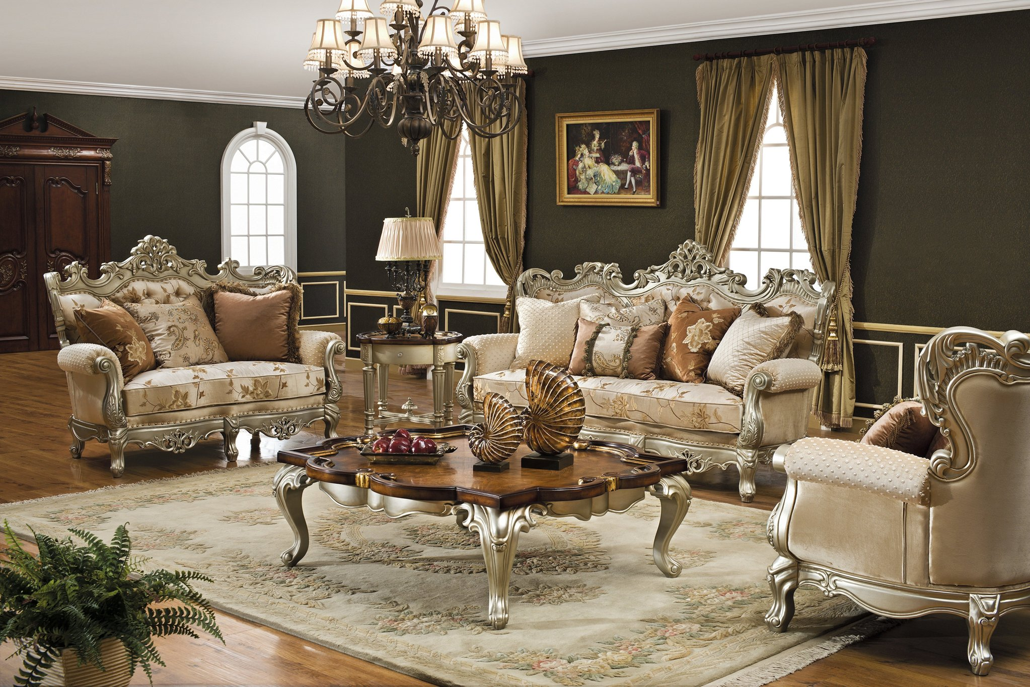 View In Gallery Gabungan Idea Moden Dan Klasik Dalam Reka Bentuk Ruang Tamu Dengan Sofa Kayu Mewah Diukir