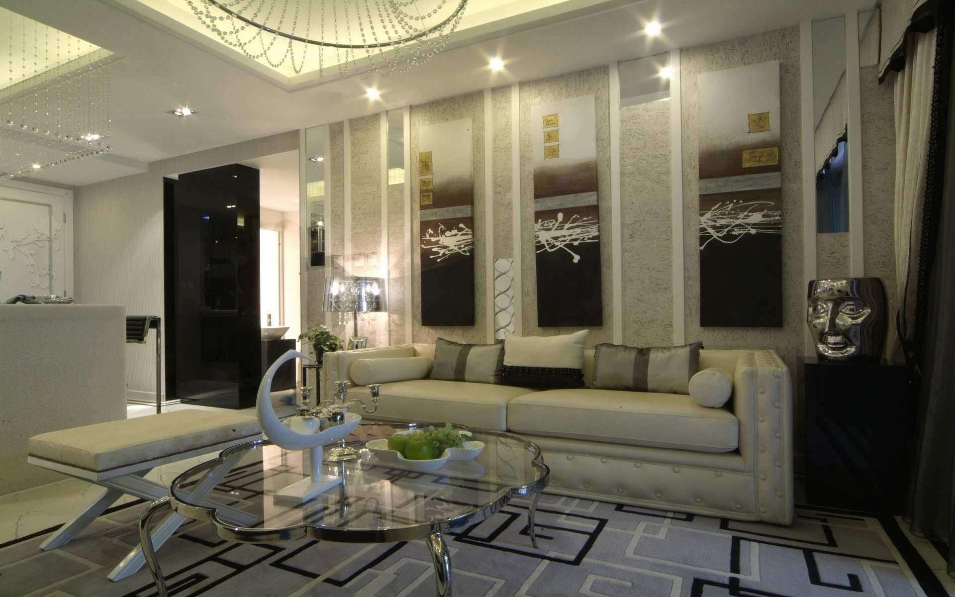 Hiasan Dalaman Ruang Tamu Dengan Gaya Klasik Dengan Gabungan Warna Sejuk
