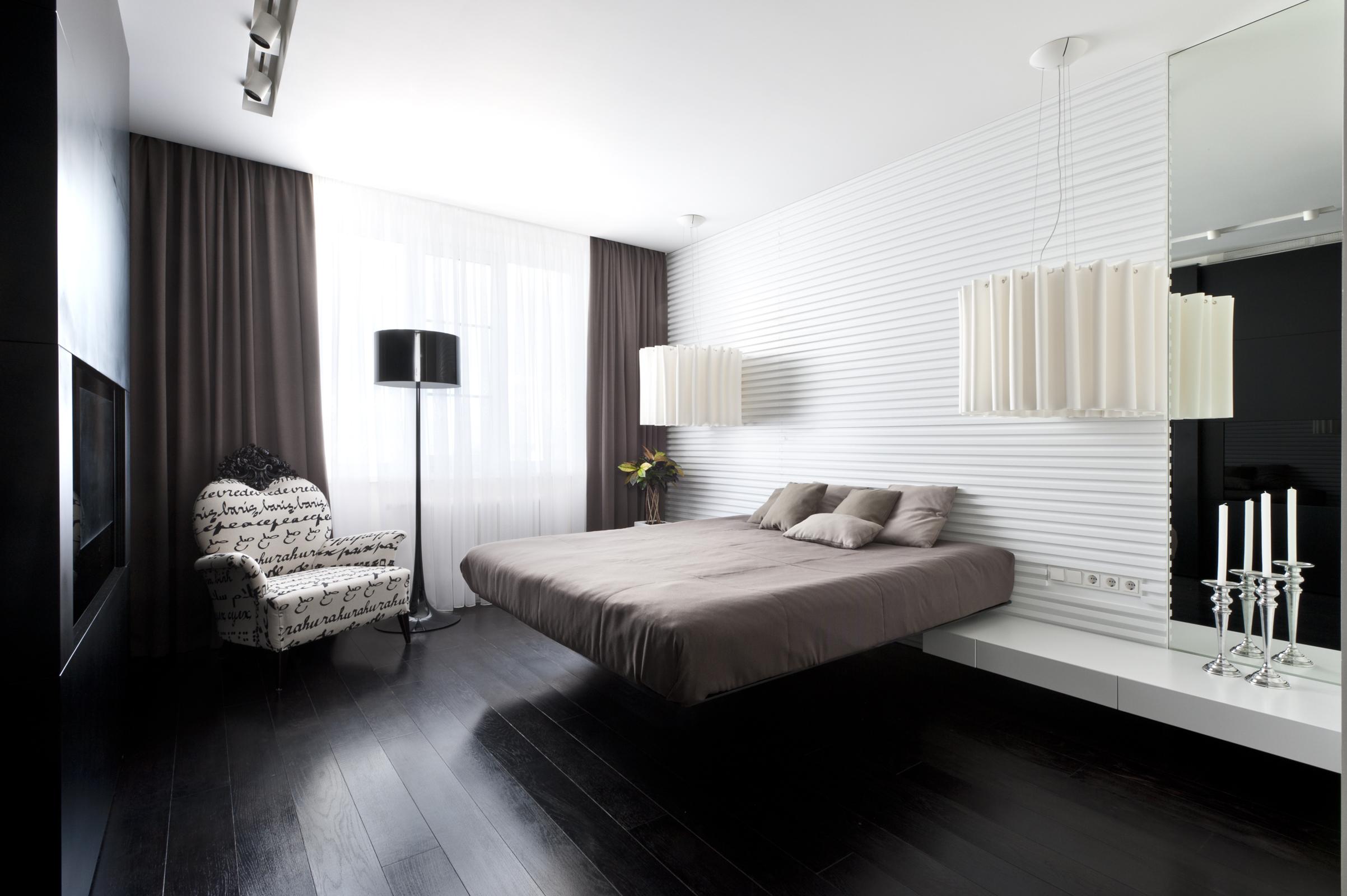 View In Gallery Hiasan Dalaman Bilik Tidur Moden Gelap Dan Terang Dengan Lampu Lantai Menarik