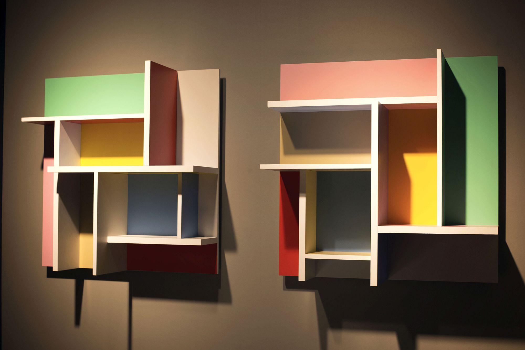Rak hiasan dinding modular warna-warni