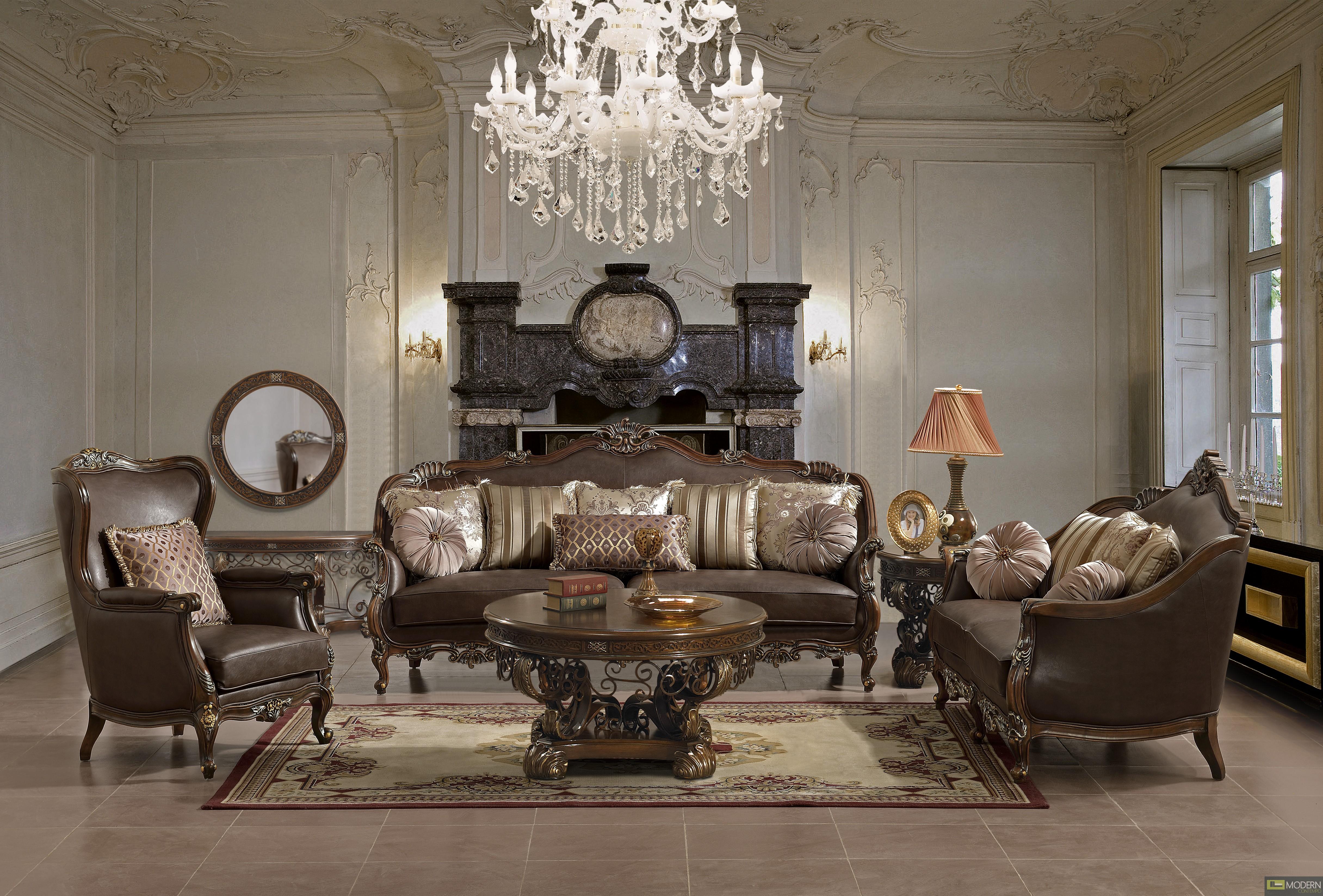 Set Perabot Ruang Tamu Cantik Dengan Gaya Sofa Tradisional Eropah Dalam Bingkai Walnut Digilap Termasuk Kecantikan Meja Bulat Gaya Klasik