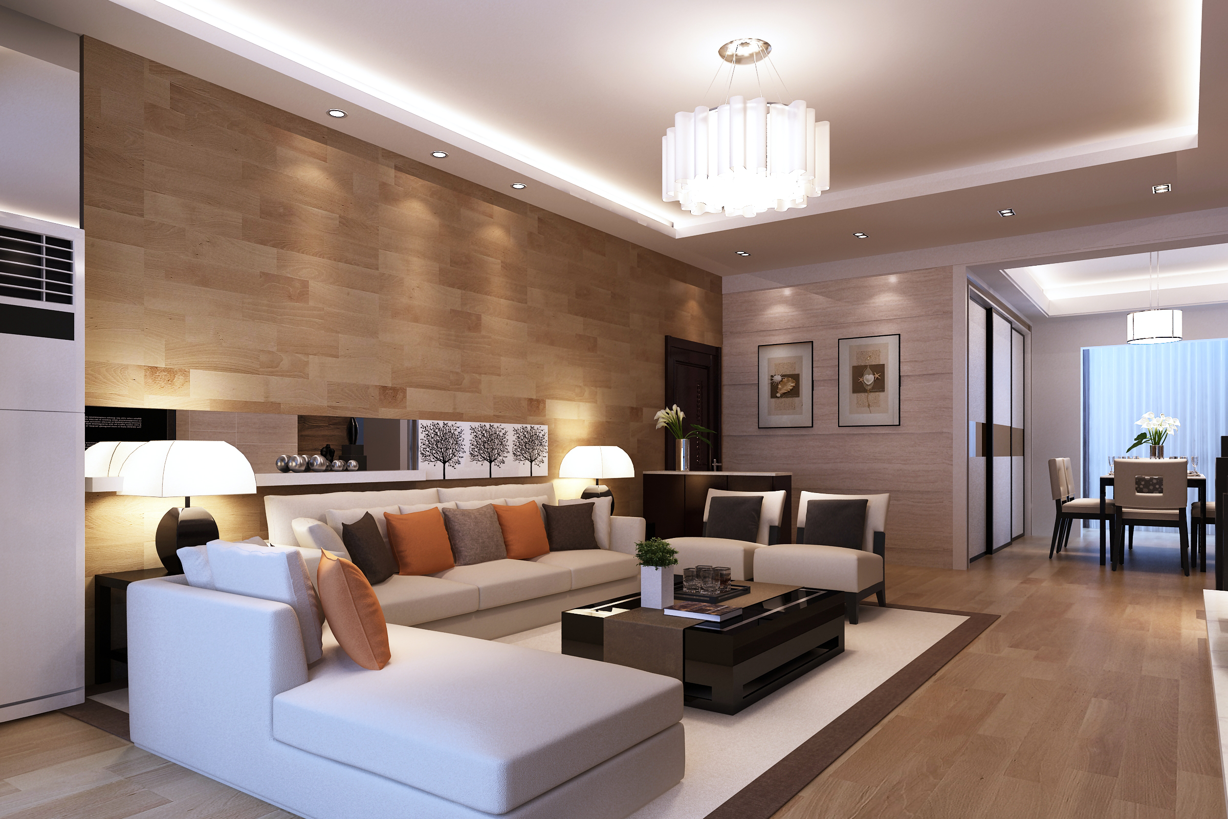 Set perabot rumah untuk ruang tamu moden dengan susunan menarik