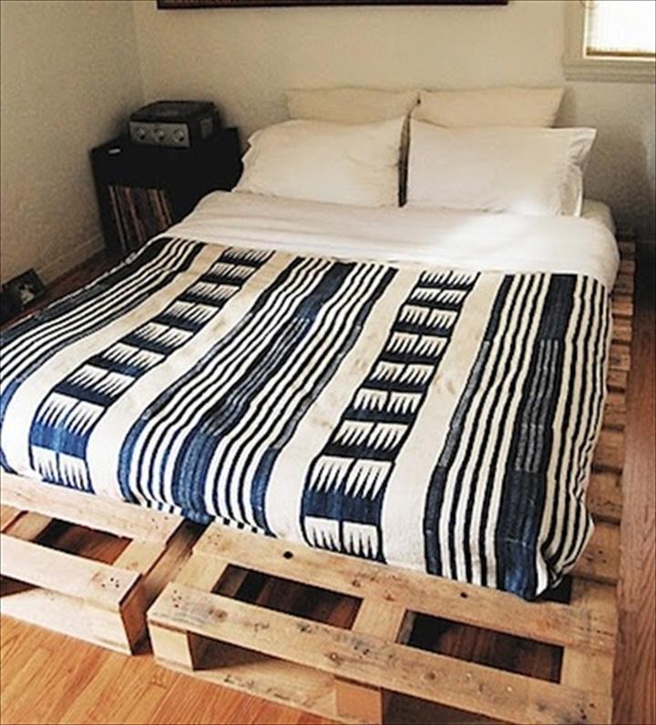 Katil single dari kayu pallet yang cukup cantik
