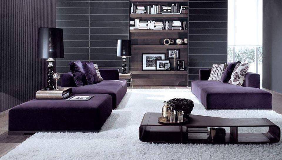 View In Gallery Kombinasi Warna Ungu Dengan Lain Dalam Ruang Tamu Moden