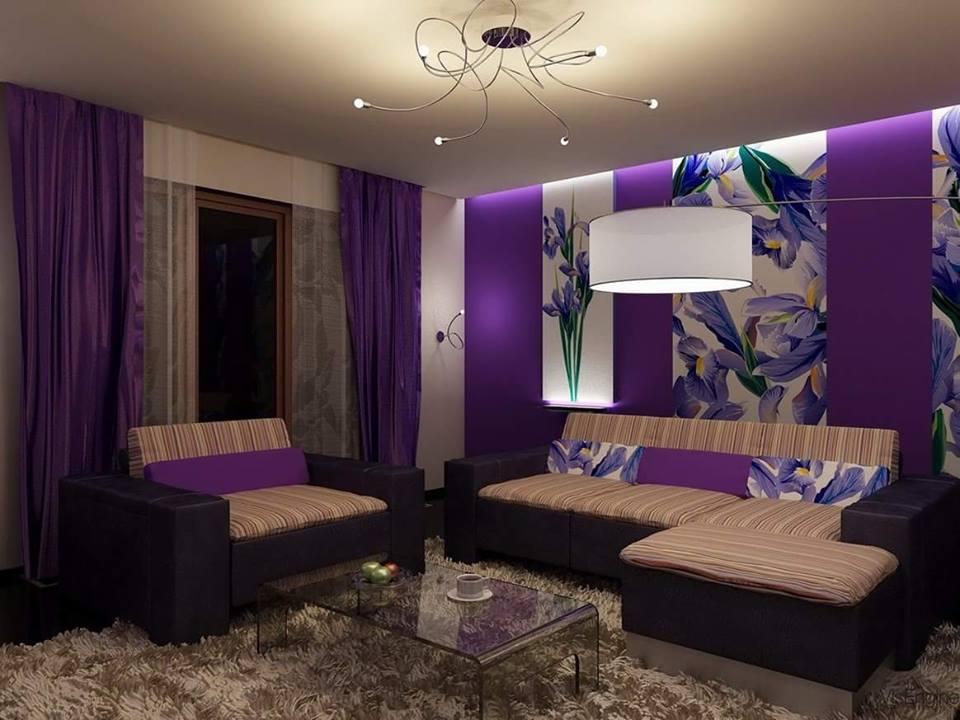 Kombinasi warna ungu ruang tamu untuk ruang yang elegan