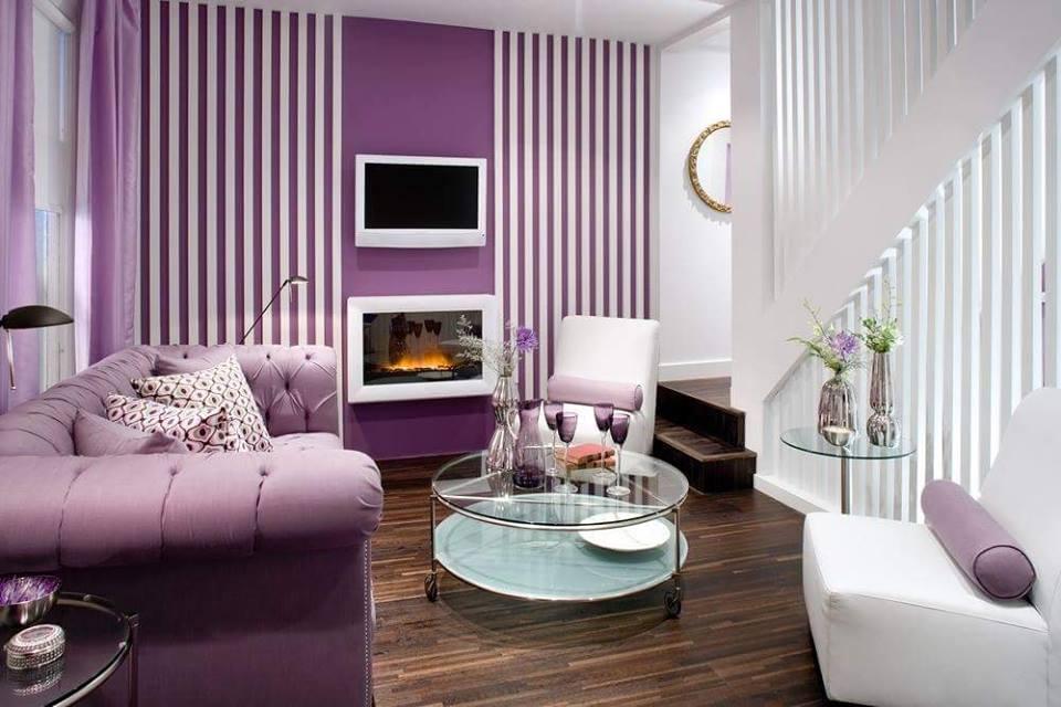 View In Gallery Ruang Tamu Moden Warna Ungu Digabungkan Dengan Putih