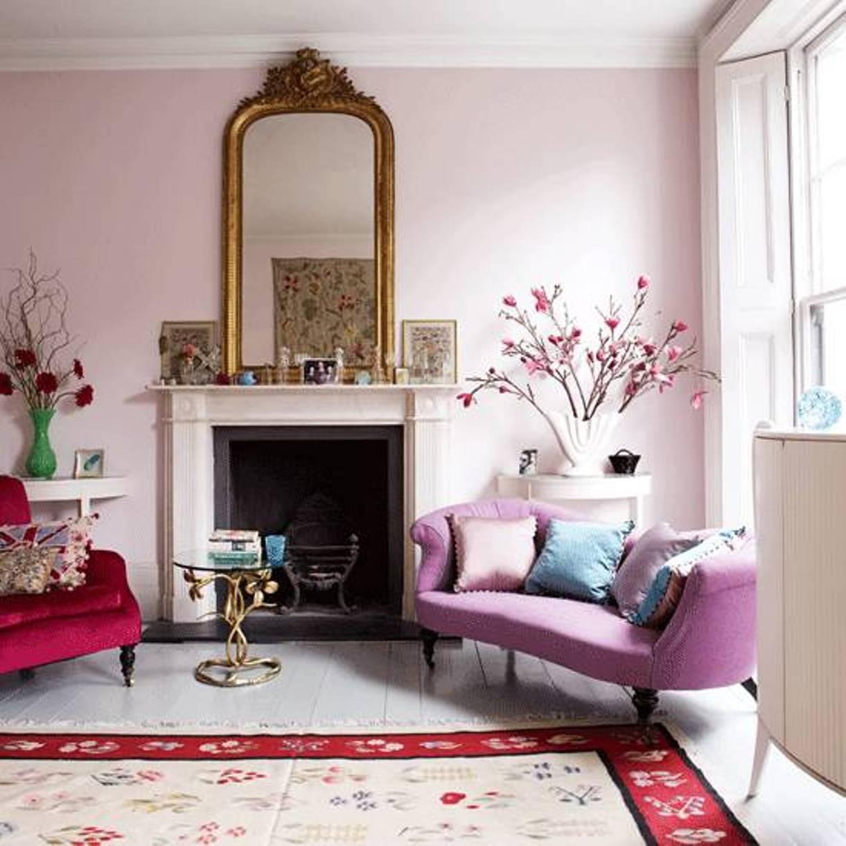 View In Gallery Warna Tema Ruang Tamu Dengan Pastel Pink Lembut