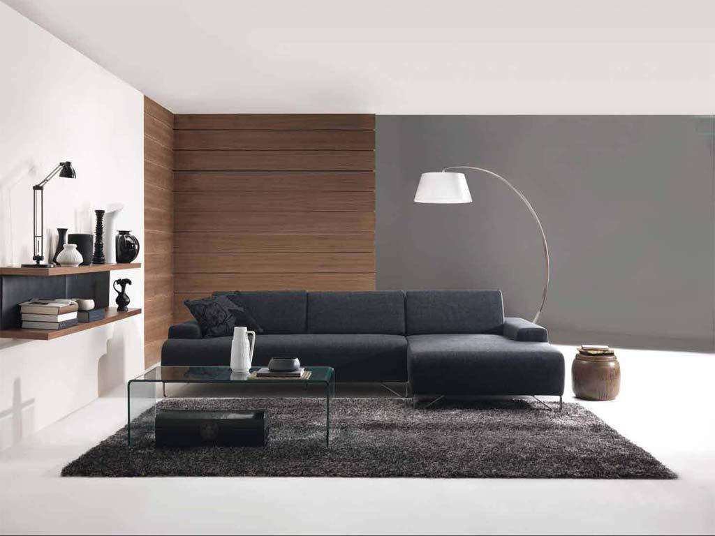 Contoh pemilihan sofa ruang tamu minimalis dengan gabungan lampu lantai yang buatkan ruang nampak tak boring