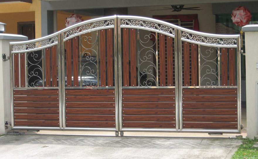Idea design pintu pagar stainless dan kayu