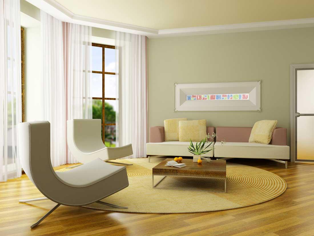 Idea hiasan dalaman ruang tamu dengan langsir jarang dan dinding pastel