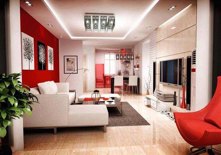 Model ruang tamu minimalis dengan gabungan warna merah putih
