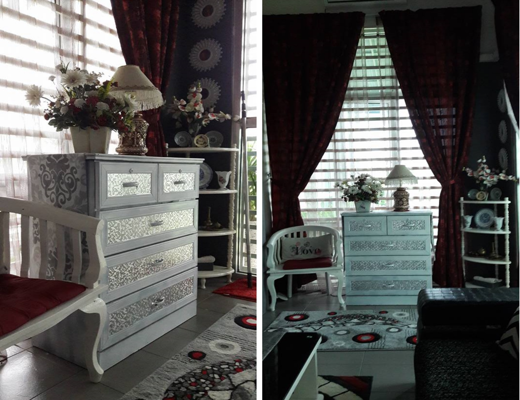 diy perabot terpakai guna almari lama untuk hiasan ruang tamu