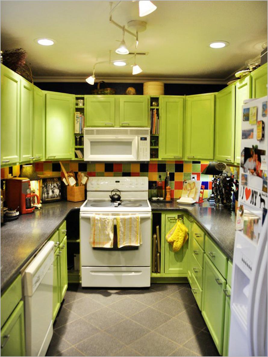 View In Gallery Kabinet Dapur Warna Warni Dengan Tema Hijau Lembut