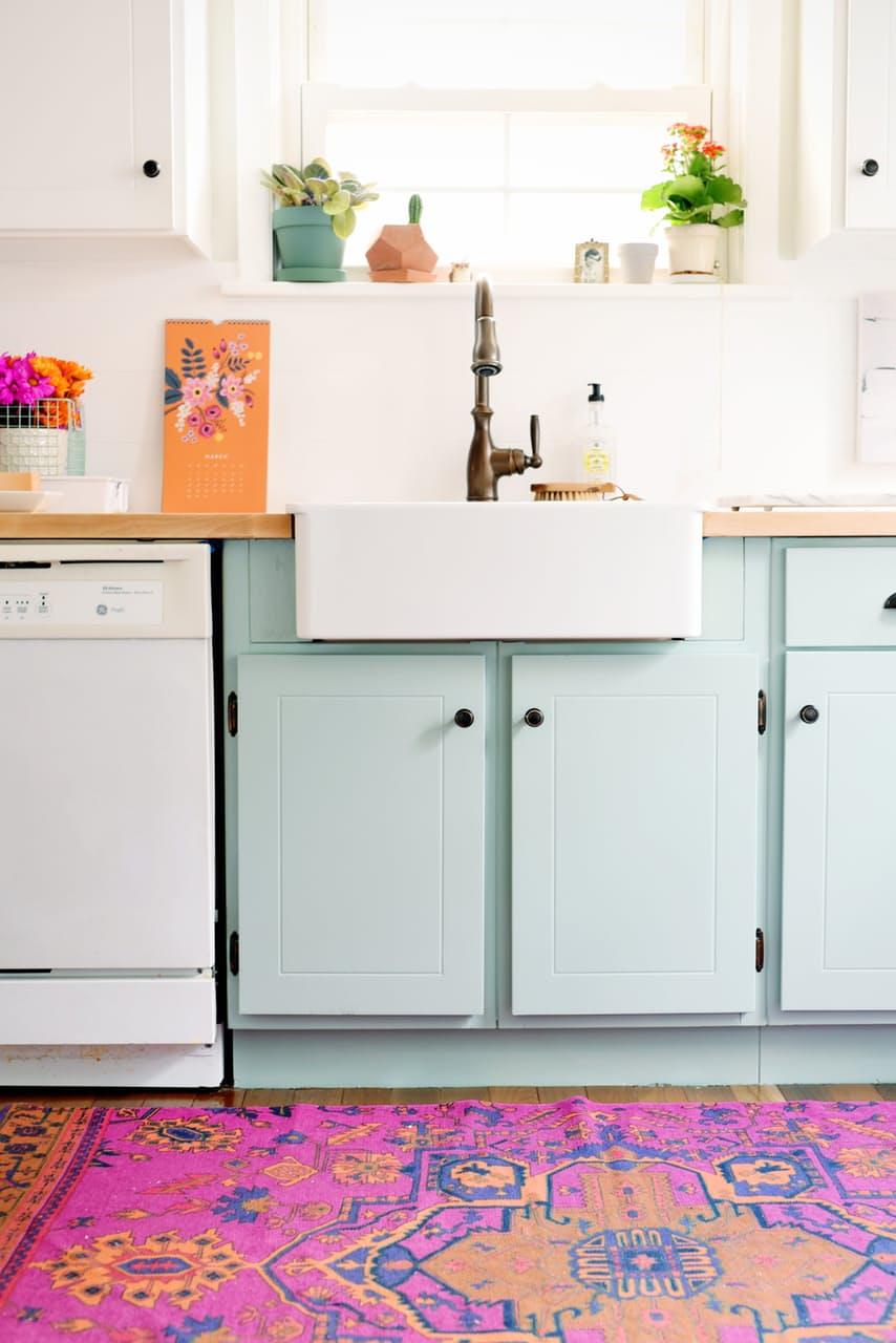 dapur tema mint green dan ungu
