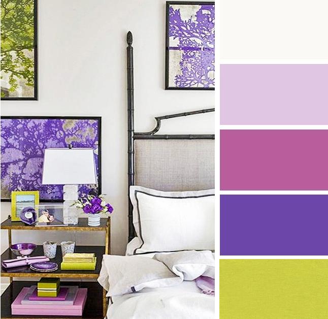 Bilik tidur warna lilac dan kelabu