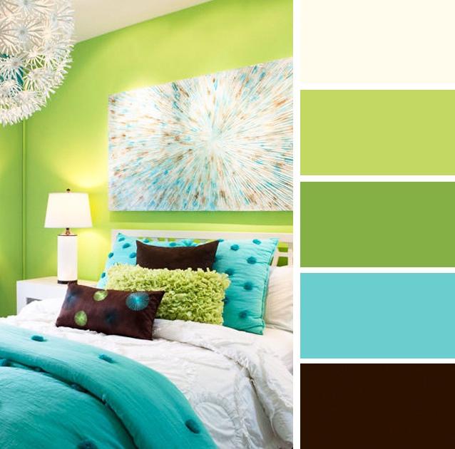 Bilik tidur warna turquoise dan hijau