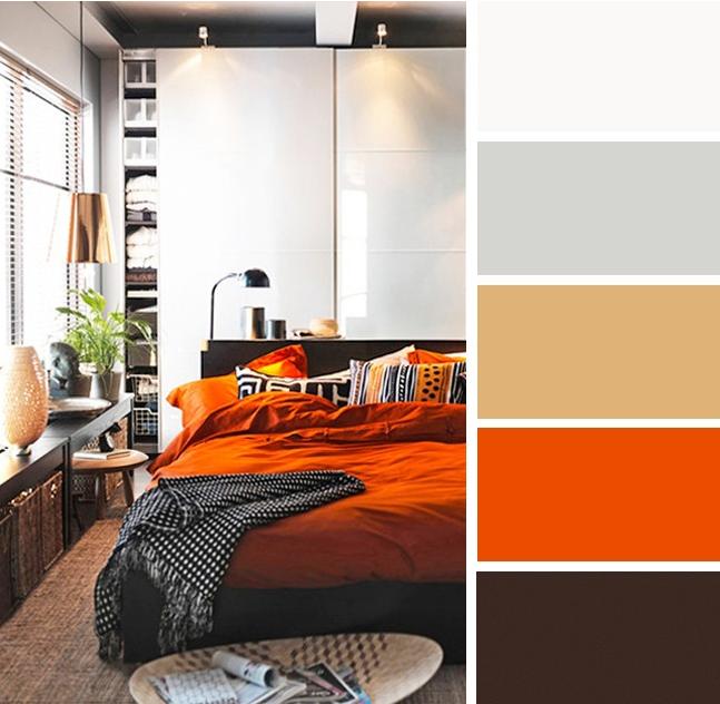 Dekorasi bilik tidur dengan warna oren dan coklat
