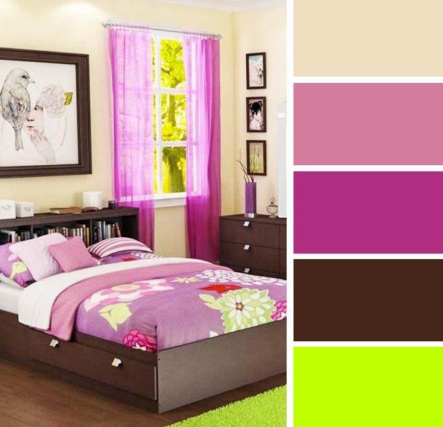 View In Gallery Gabungan Warna Bilik Tidur Hijau Dan Pink