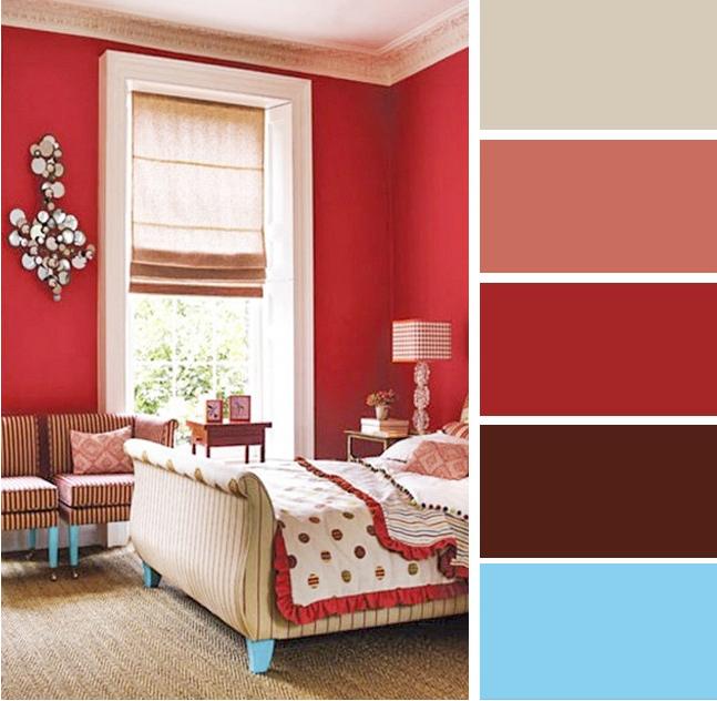 Gabungan warna bilik tidur merah dan biru