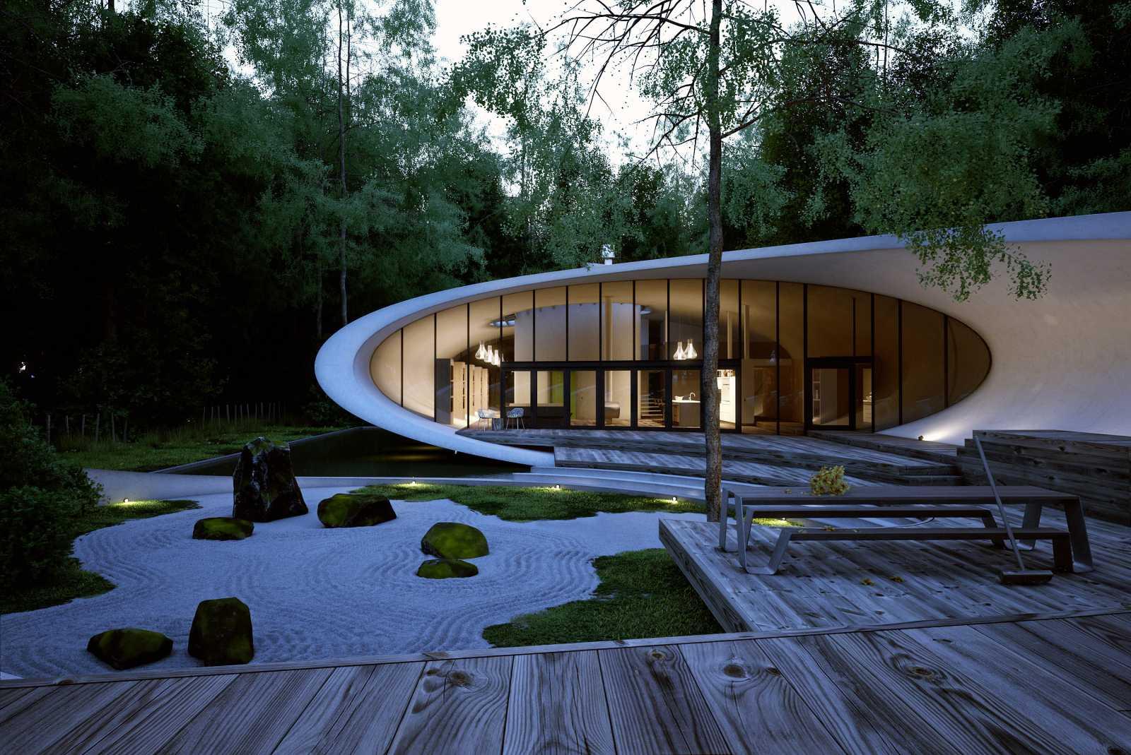 Rekabentuk Shell House oleh Artechnic di Hutan Karuizawa Jepun (1)