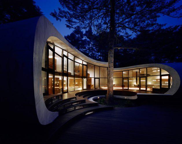 Rekabentuk Shell House oleh Artechnic di Hutan Karuizawa Jepun (10)