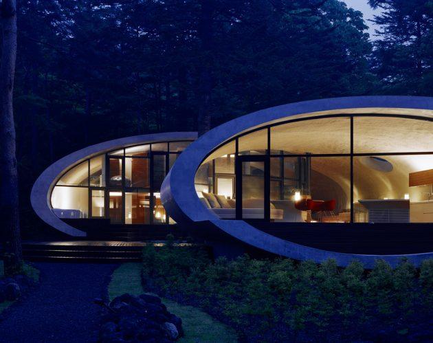 Rekabentuk Shell House oleh Artechnic di Hutan Karuizawa Jepun (11)