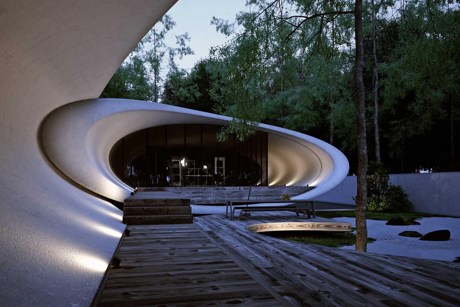 Rekabentuk Shell House oleh Artechnic di Hutan Karuizawa Jepun (12)
