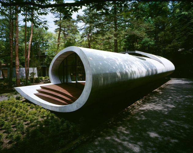 Rekabentuk Shell House oleh Artechnic di Hutan Karuizawa Jepun (6)