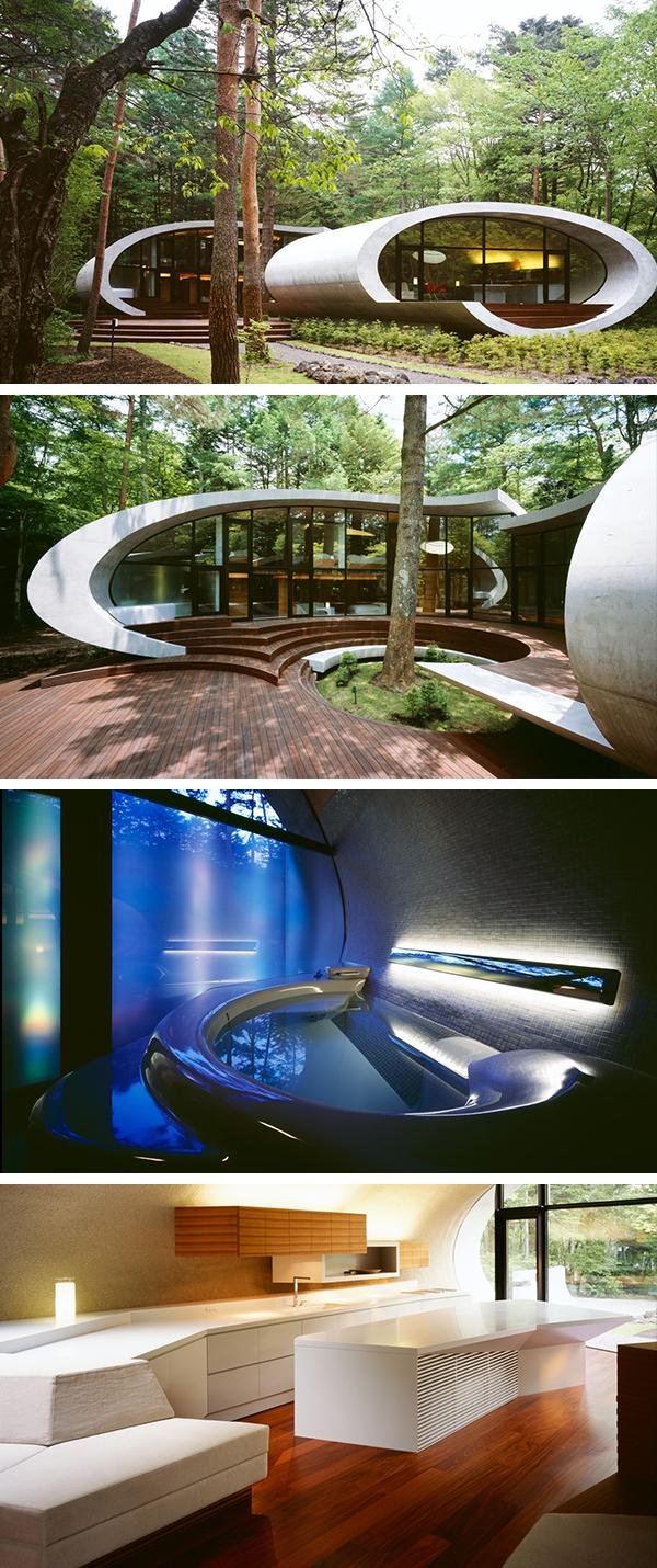 Shell House oleh Artechnic di Hutan Karuizawa Jepun