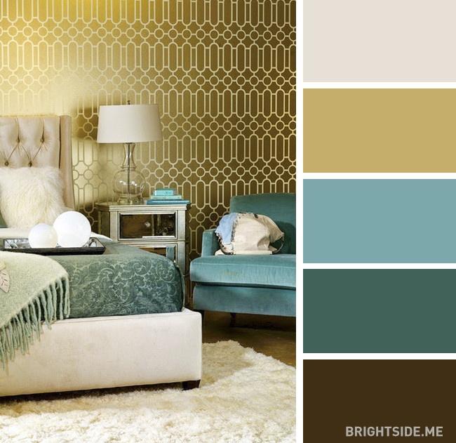 Warna Bilik Tidur Turquoise Gelap & Keemasan