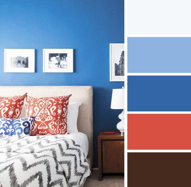 Warna bilik tidur Biru Gelap & Merah