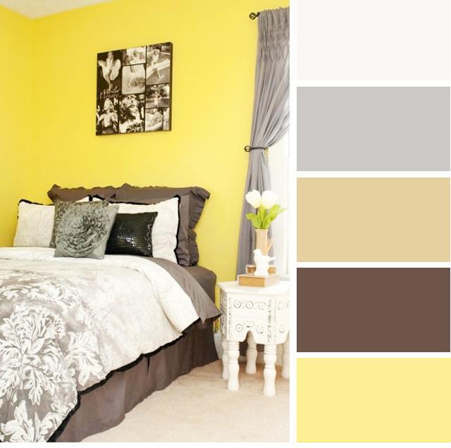 Warna bilik tidur Kuning Lemon & Kelabu